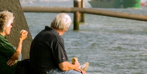 Elderly couple at the beach.