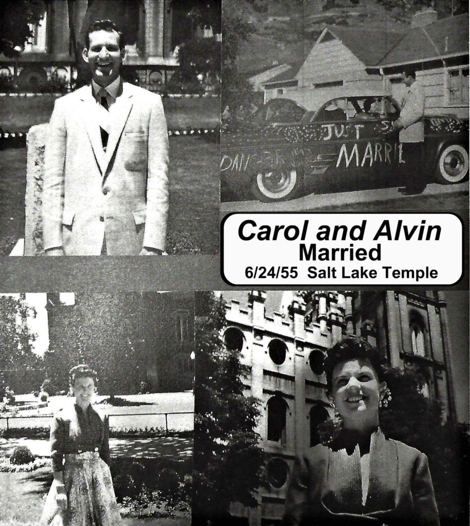 Carol and Alvin were married in the Salt Lake City Temple in 1955.
