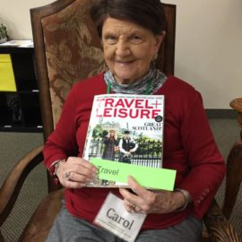 Carol enjoys all of the art activities she does daily at Aspen Senior Day Center.